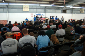 Hundreds await the next item(s) up for bid at the Charlotte Racers Expo in 2012.